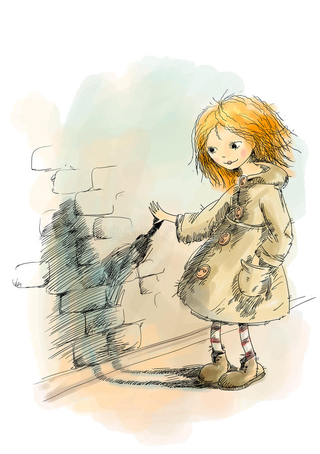 A menina ruivo em um revestimento olha sua sombra ilustração do vetor
