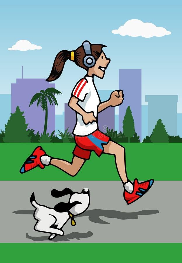Menina Running com auscultadores e cão ilustração stock