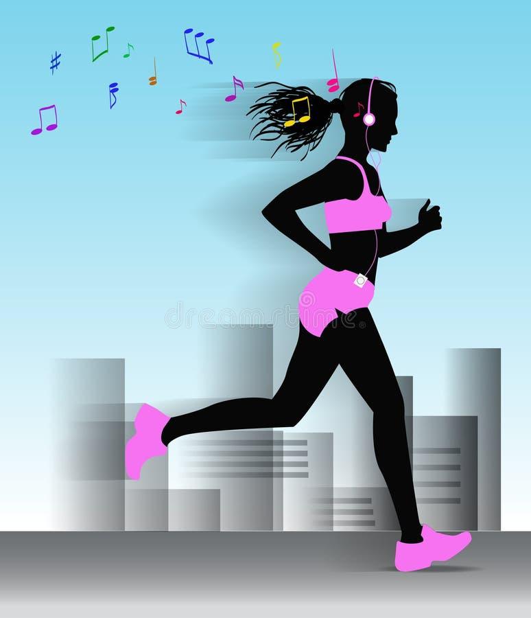 A menina running corre através da cidade e escuta ilustração do vetor