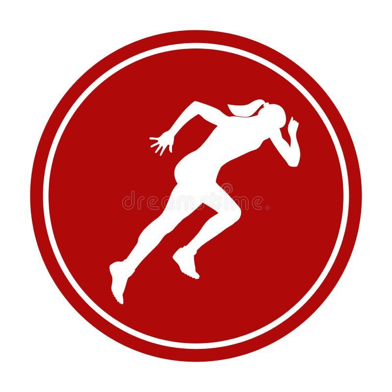 Menina running da sprint do ícone ilustração stock