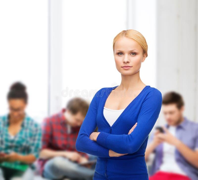 Menina séria na roupa ocasional imagem de stock