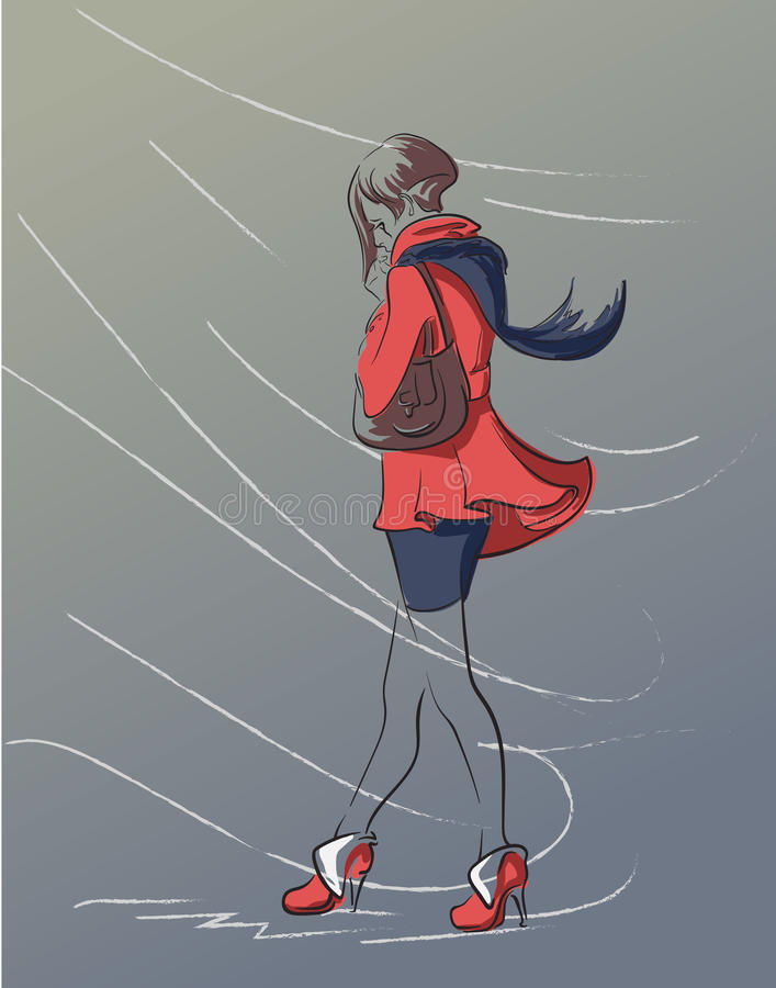 Menina só em um revestimento vermelho ilustração stock