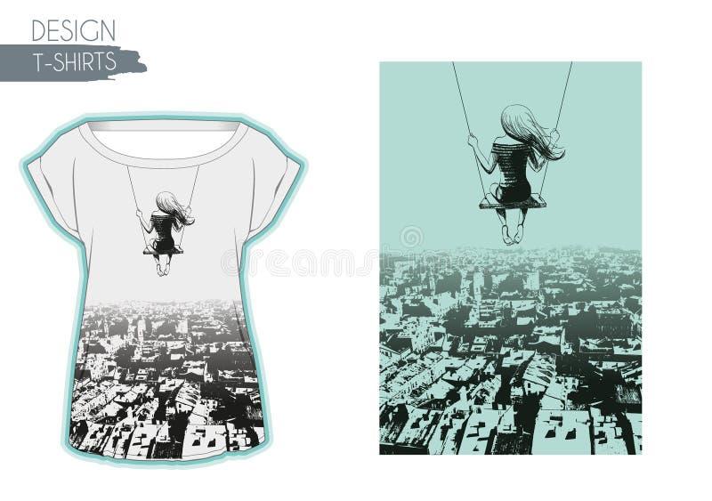 Menina só no balanço contra o contexto da cidade Projeto dos t-shirt ilustração stock