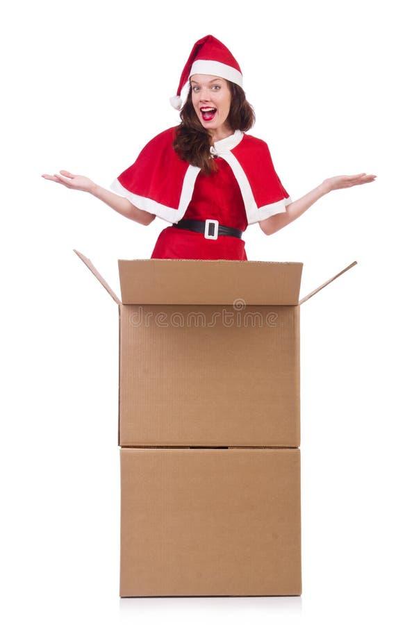 Menina Santa da neve no conceito do Natal isolada fotografia de stock