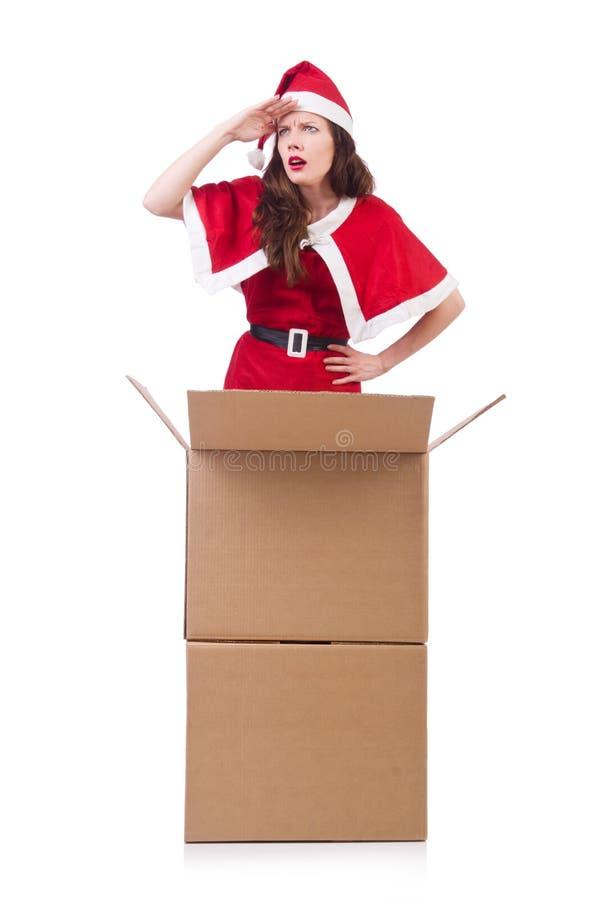 Menina Santa da neve no conceito do Natal isolada fotos de stock