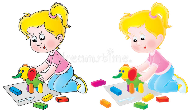 A menina sculpts um elefante do brinquedo ilustração do vetor