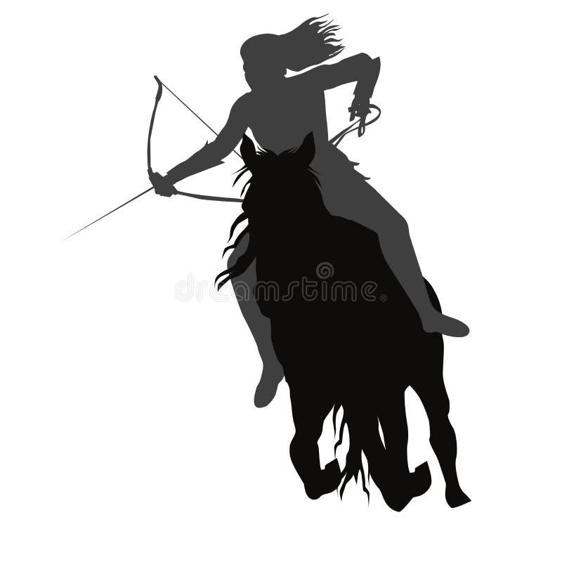Menina selvagem de amazon com uma curva a cavalo ilustração do vetor
