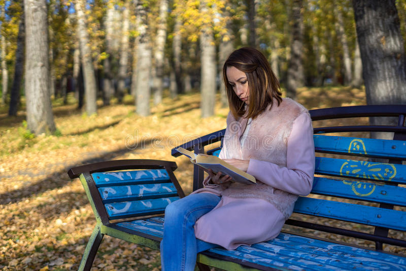 A menina senta-se em um banco de parque e em ler um livro fotografia de stock