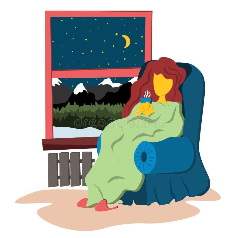 A menina senta-se envolvido em uma cobertura morna na janela da noite Ilustração no estilo liso ilustração do vetor