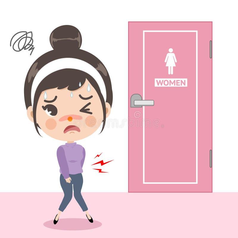 A menina sentiu uma dor de estômago na frente do toalete ilustração royalty free