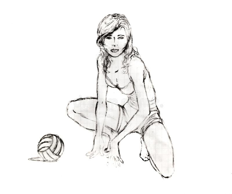 A menina sentou-se para baixo ao lado de um voleibol, desenho de lápis fotografia de stock