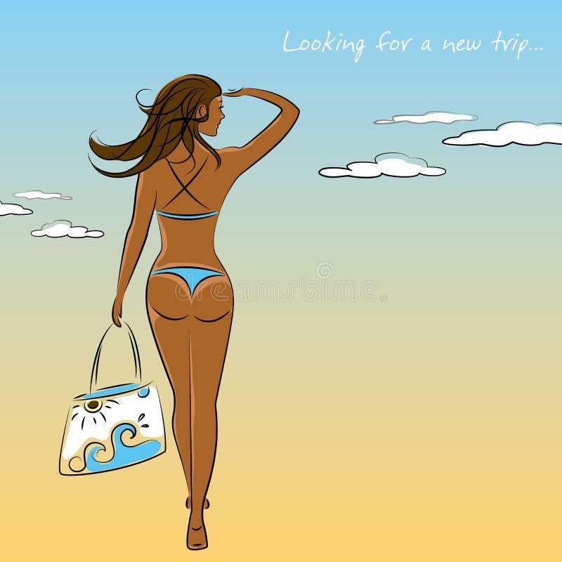 A menina 'sexy' bonita no biquini com uma praia ensaca à disposição ilustração royalty free