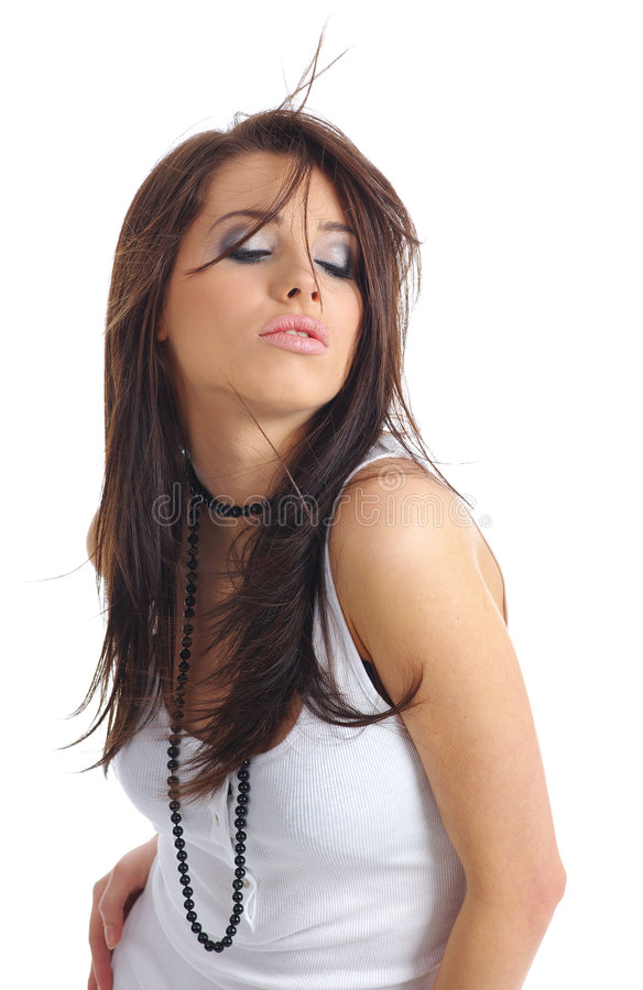 Menina 'sexy' com cabelo longo imagens de stock
