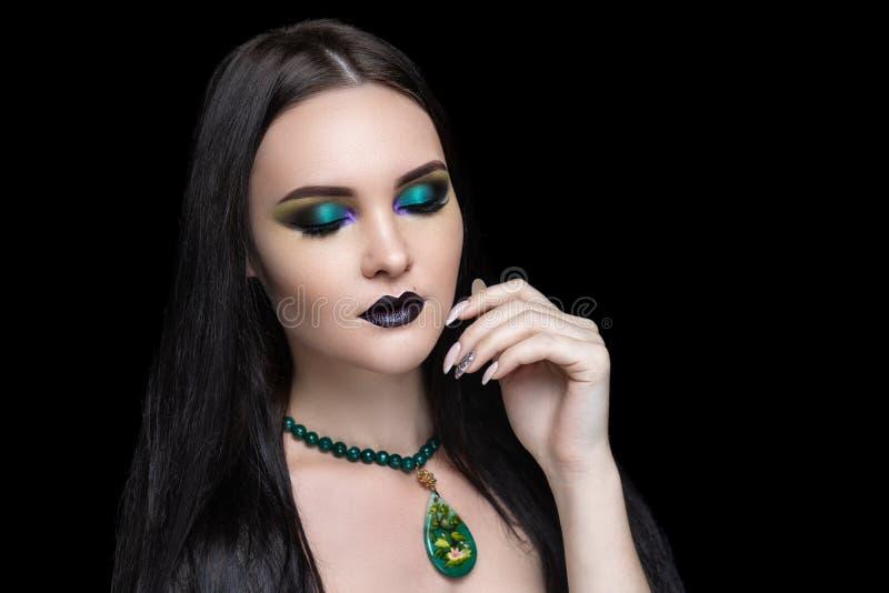 Menina 'sexy' com cabelo preto lindo imagem de stock royalty free