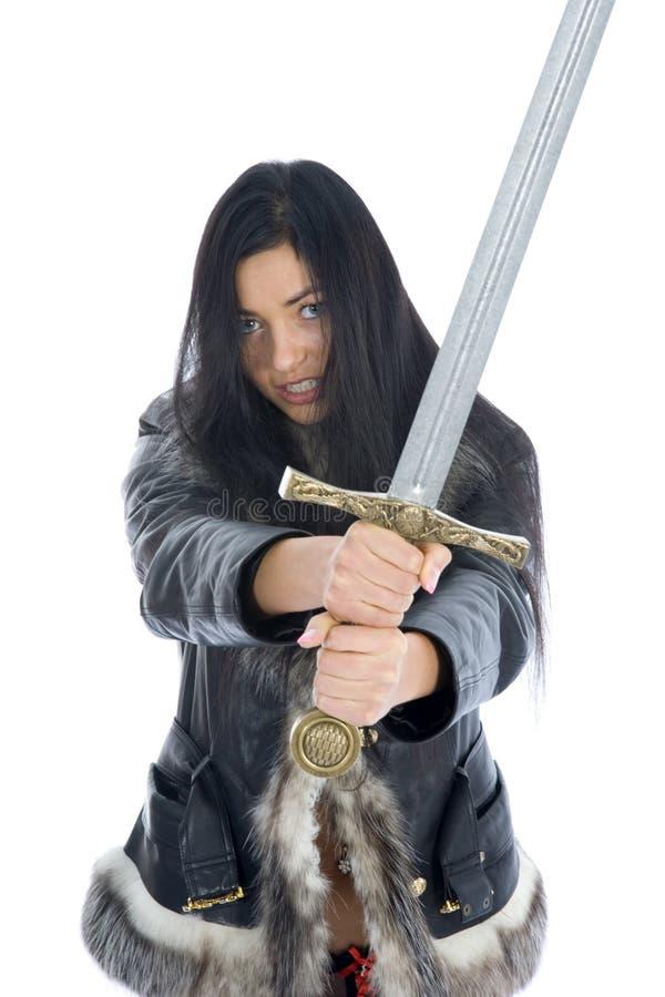 Menina 'sexy' com espada foto de stock