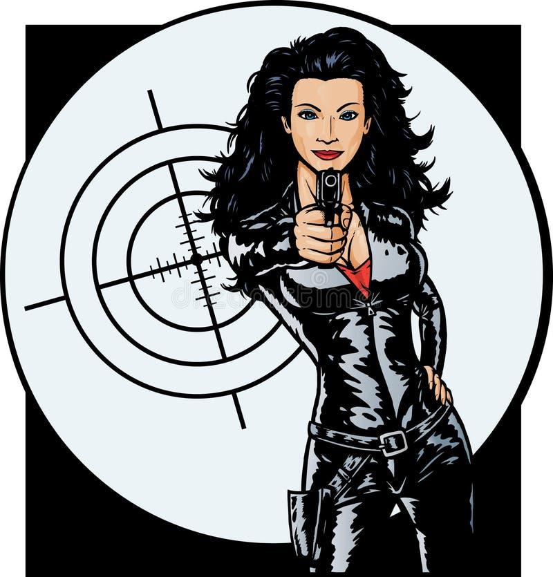 Menina 'sexy' do agente secreto ilustração royalty free