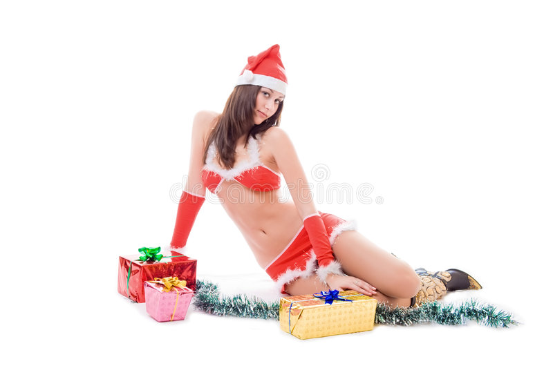 Menina 'sexy' do ajudante de Santa fotografia de stock royalty free