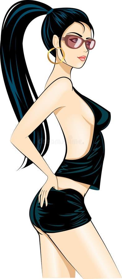 Menina 'sexy' do encanto do disco ilustração royalty free