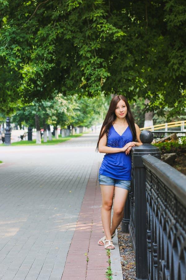 Menina 'sexy' inclinada na cerca fotografia de stock royalty free