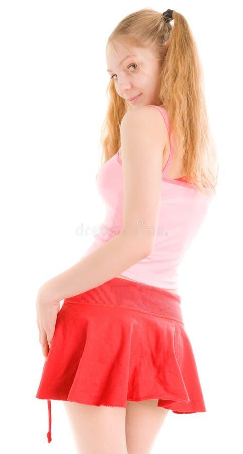 Menina 'sexy' na saia curta fotografia de stock