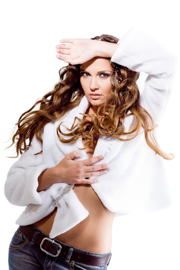 Menina 'sexy' no revestimento fotos de stock royalty free