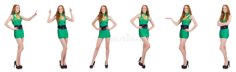 A menina 'sexy' nova no vestido verde isolado no branco fotos de stock royalty free