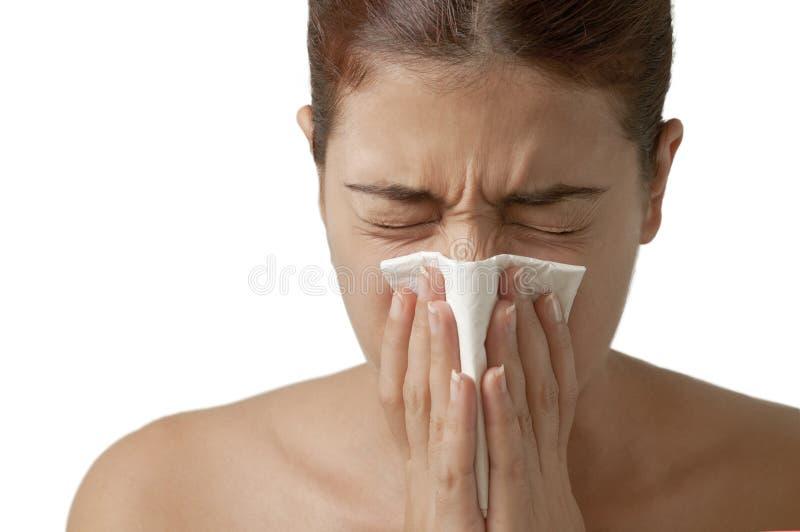 Menina Sneezing imagens de stock
