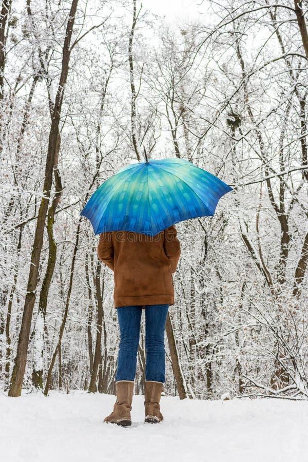 Menina sob o guarda-chuva azul na floresta nevado unfocused Conceito da queda de neve Mulher sob a chuva molhada da neve no parqu imagens de stock