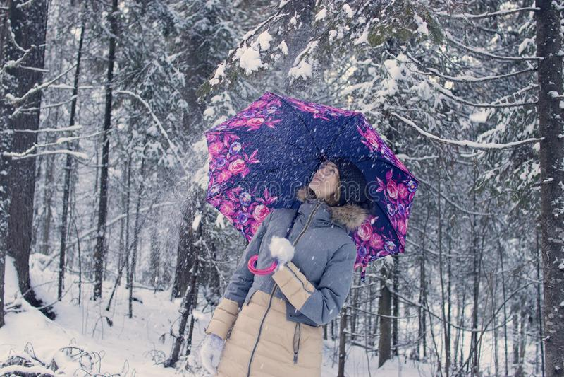 Menina sob o guarda-chuva na floresta do inverno imagens de stock royalty free