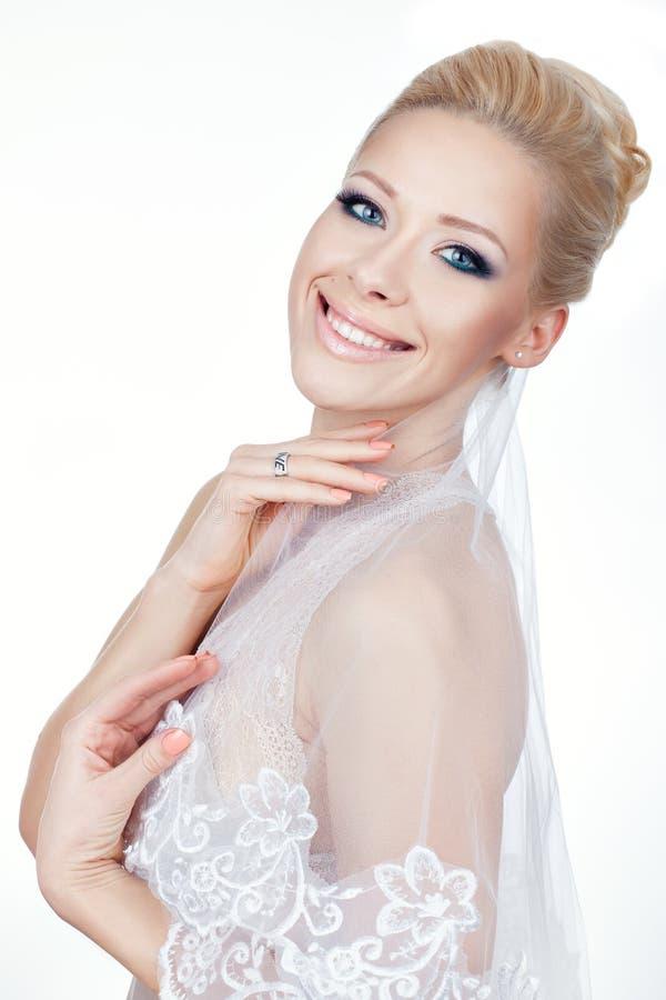 A menina sorri amplamente e bonito fotografia de stock royalty free