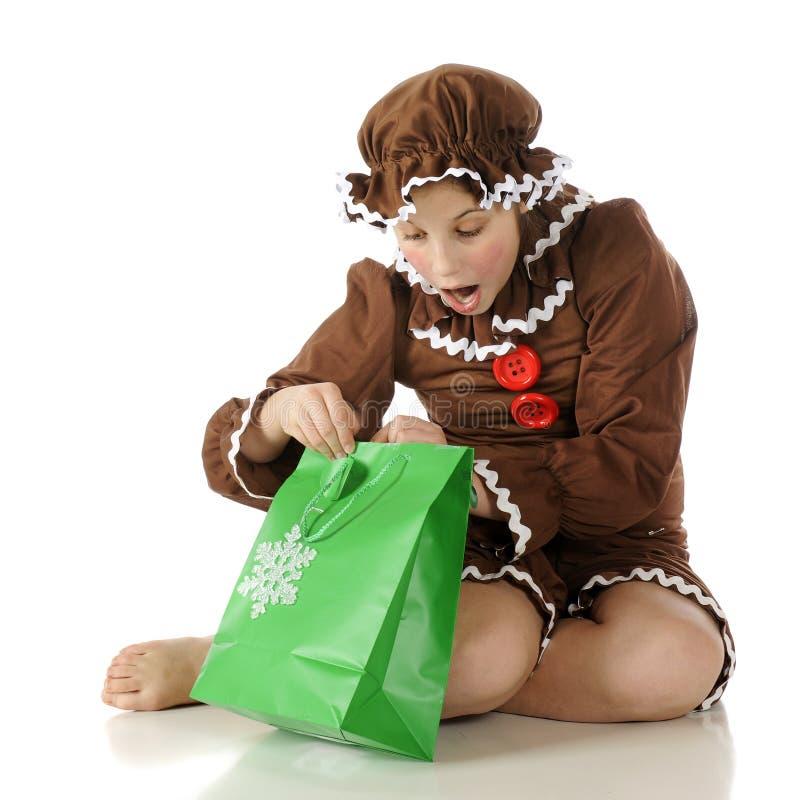 Menina surpreendida do pão-de-espécie fotografia de stock