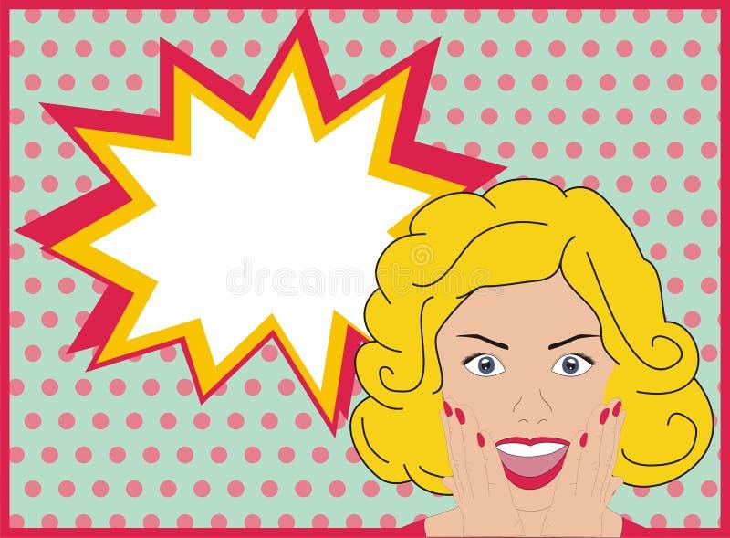 Menina surpreendida do pop art Mulher surpreendida do pop art Mulher com cara surpreendida e a boca aberta Fundo com bolha do dis ilustração royalty free