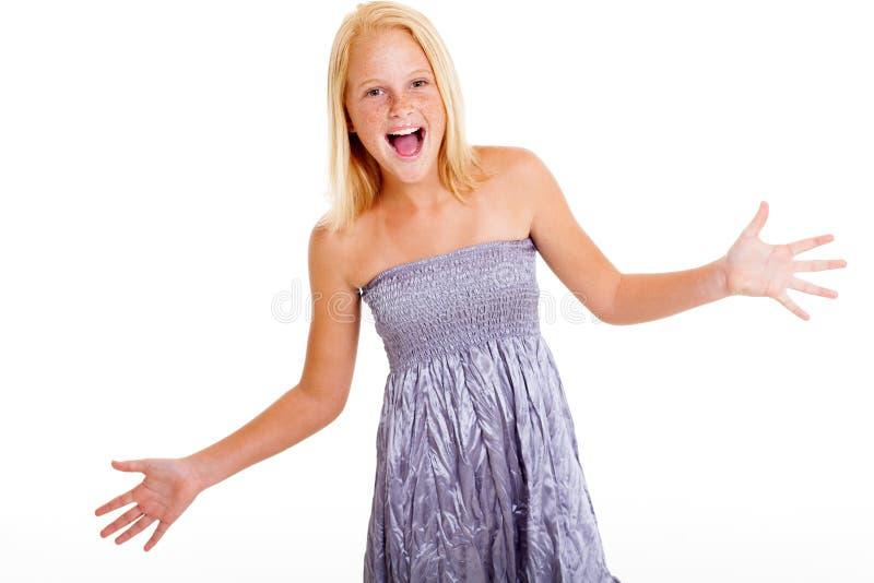 Menina surpreendida do preteen fotografia de stock