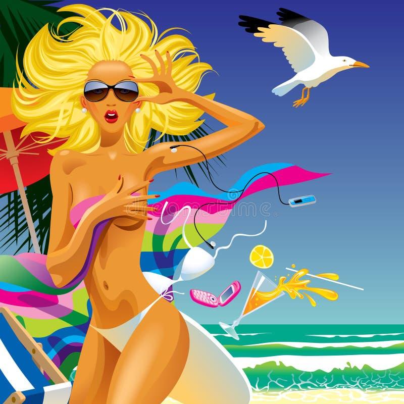 Menina surpreendida em uma praia ilustração do vetor