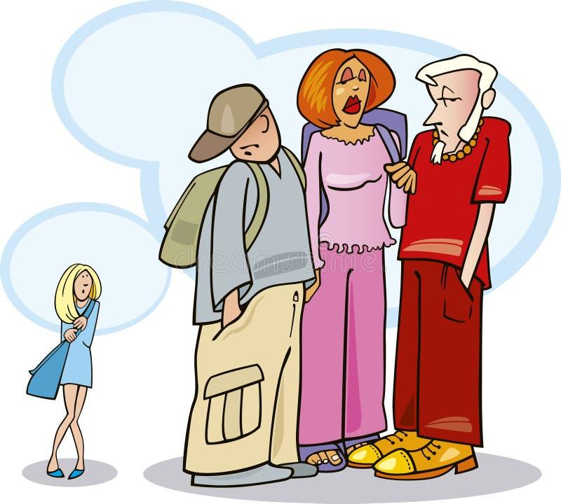 Menina tímida ilustração royalty free