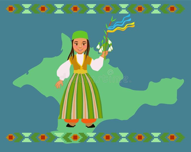A menina Tatar crimeana deseja um ano novo feliz chamado Novruz ou Navruz ilustração royalty free