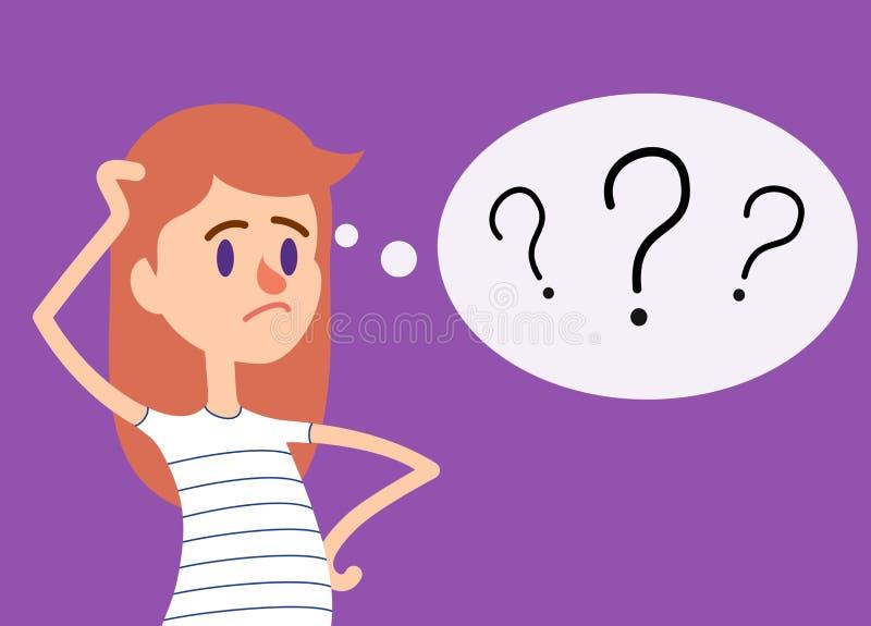 A menina tem muitas perguntas ilustração do vetor