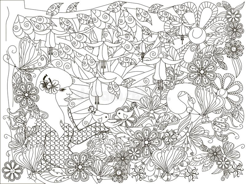 Menina tirada da garatuja mão monocromática com pássaro loving, fundo das flores, lorem ipsum ilustração royalty free