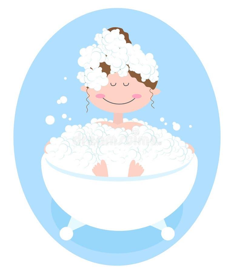 A menina toma um banho com espuma ilustração do vetor