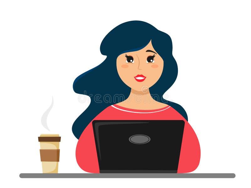 A menina trabalha em um portátil, ao lado do café Ilustra??o do vetor de um estilo liso ilustração royalty free
