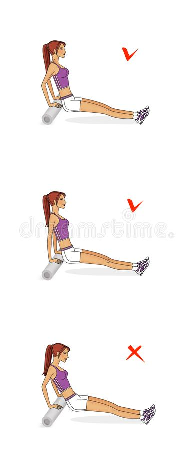 A menina treina os músculos da caixa e das mãos Flexão de braço traseira do rolo ginástico Execução correta e incorreta ilustração stock