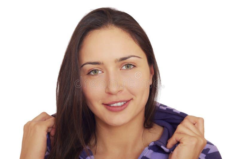 Menina triguenha de riso consideravelmente brincalhão. foto de stock royalty free