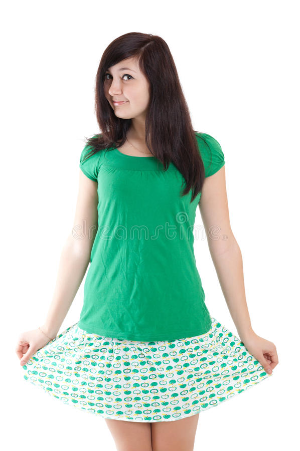 Menina triguenha no vestido verde imagem de stock royalty free