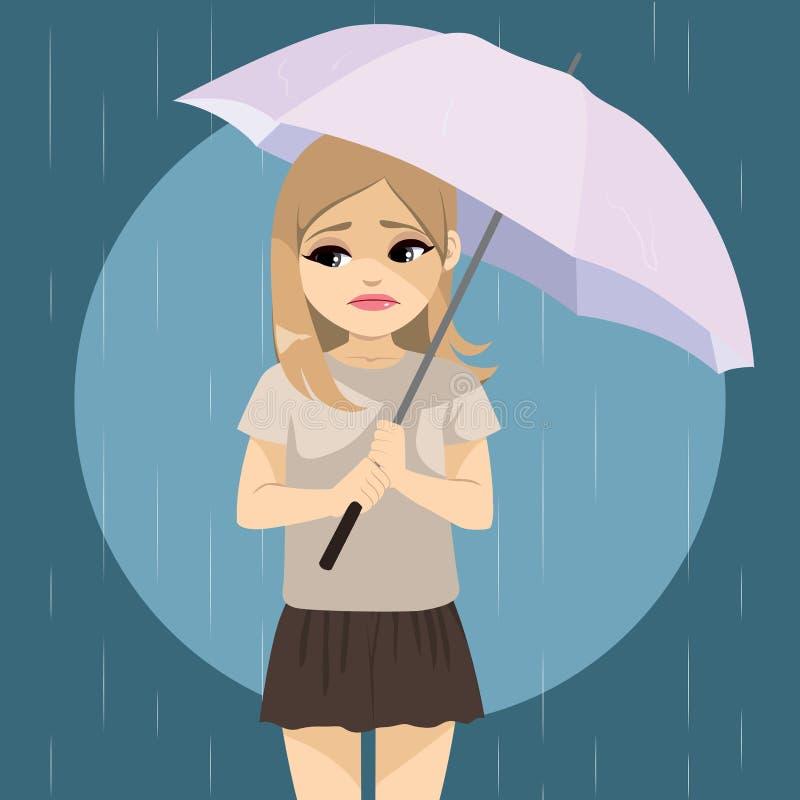 Menina triste chover ilustração do vetor