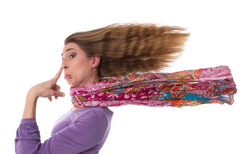 Menina triste com o cabelo de vibração - isolado no branco. imagens de stock royalty free