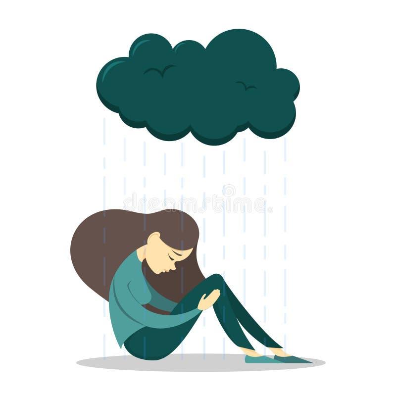 A menina triste da beleza Mulher na tristeza grief ilustração do vetor