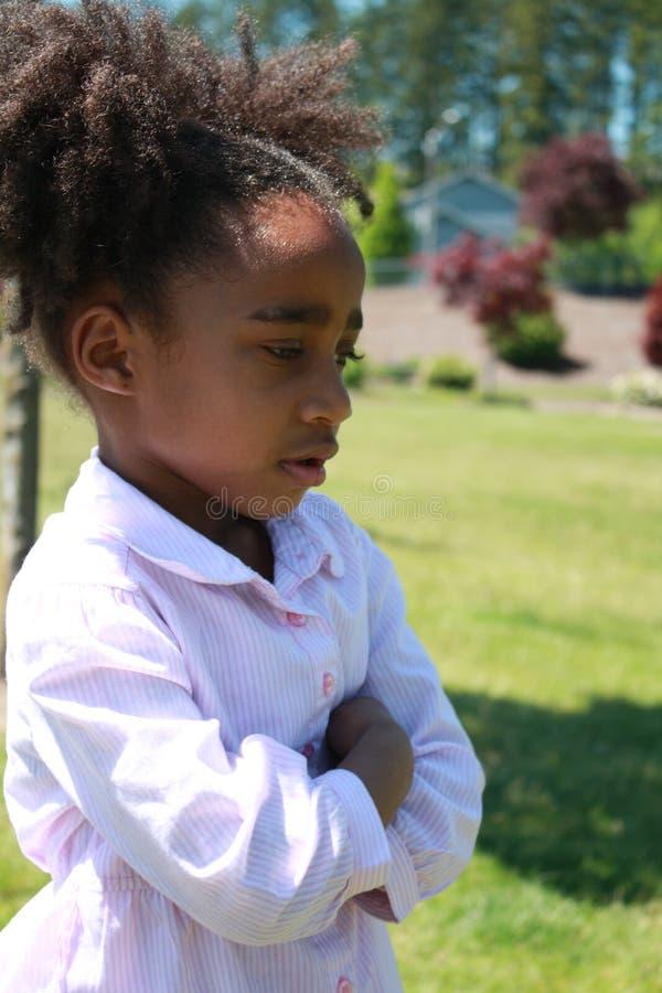 Menina triste do americano africano fotos de stock
