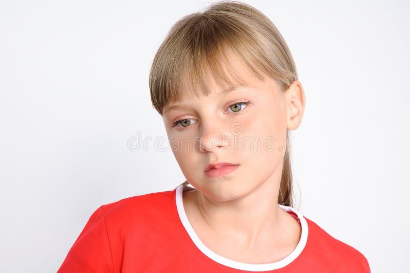 Menina triste do preteen, problemas do adolescente fotografia de stock royalty free