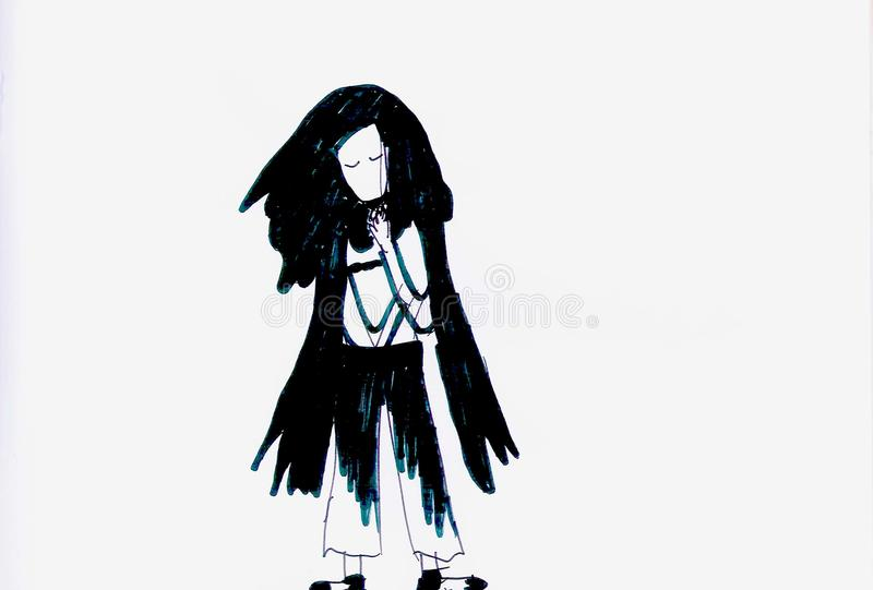Menina triste em preto e branco ilustração stock