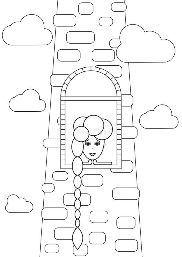 Menina triste melancólica de Rapunzel com o cabelo longo que espera da janela de pedra do castelo Torre, mulher de Rapunzel e nuv ilustração stock